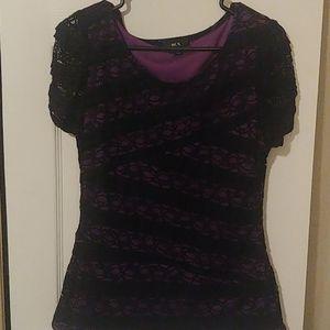 Lacey purple & black blouse